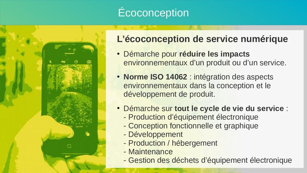 Écoconception L'écoconception de service numéri...