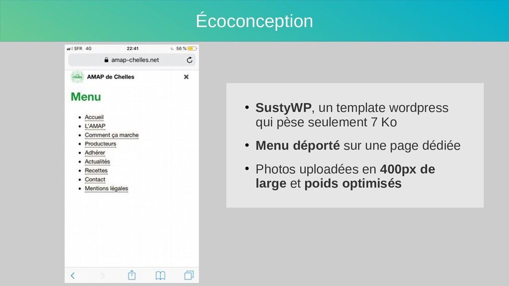 Écoconception ● SustyWP, un template wordpress ...