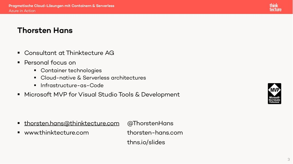 § Consultant at Thinktecture AG § Personal focu...