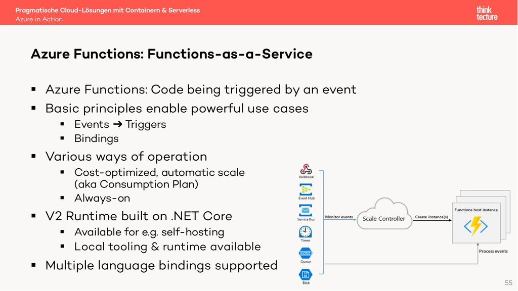 55 § Azure Functions: Code being triggered by a...