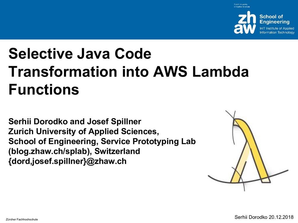 Zürcher Fachhochschule Selective Java Code Tran...
