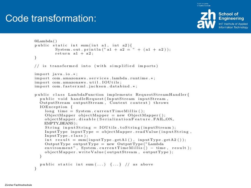 Zürcher Fachhochschule Code transformation: