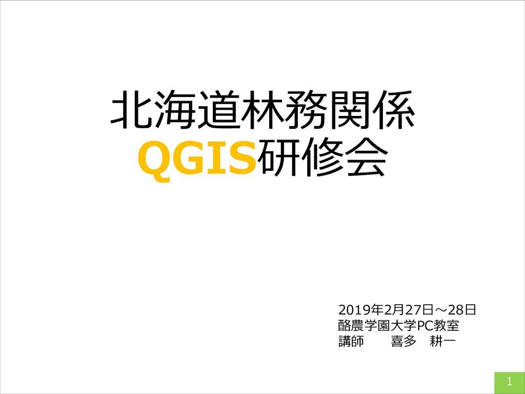 北海道林務関係 QGIS研修会 2019年2月27日~28日 酪農学園大学PC教室 講師  喜...