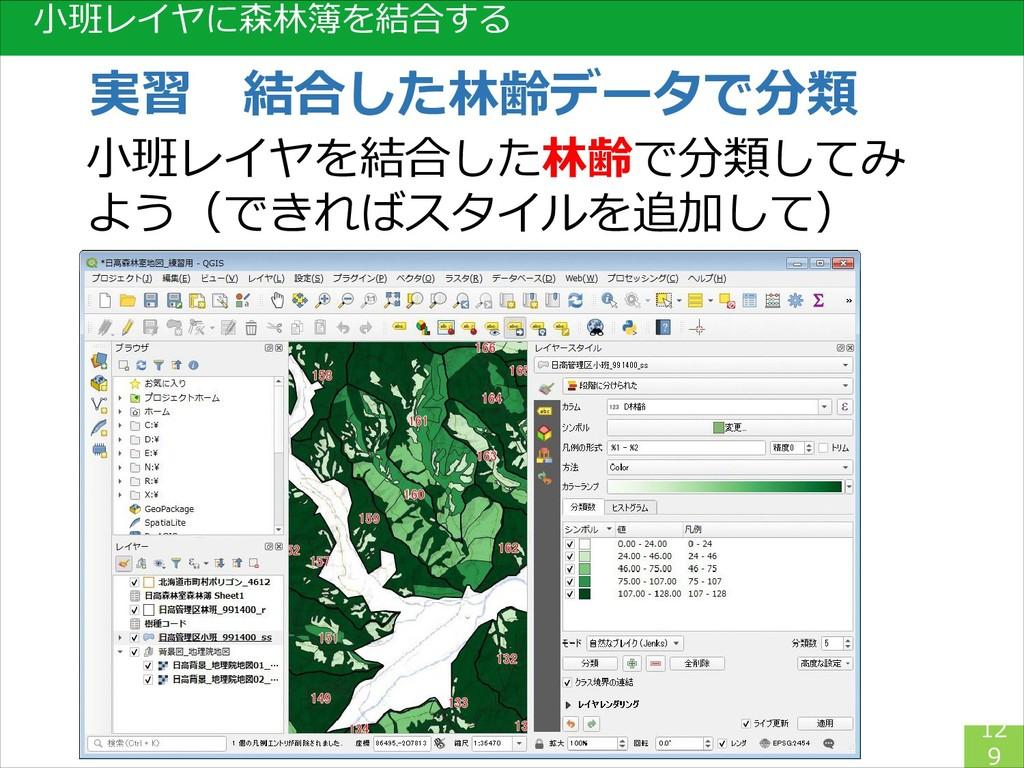 小班レイヤに森林簿を結合する 12 9 実習 結合した林齢データで分類 小班レイヤを結合した林...