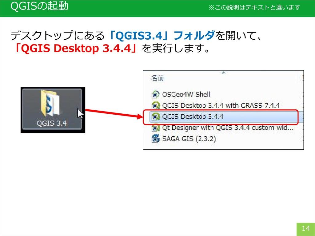 QGISの起動 14 デスクトップにある「QGIS3.4」フォルダを開いて、 「QGIS De...