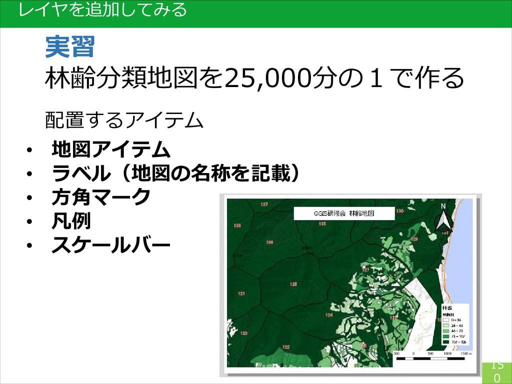 レイヤを追加してみる 15 0 実習 林齢分類地図を25,000分の1で作る 配置するアイテム...