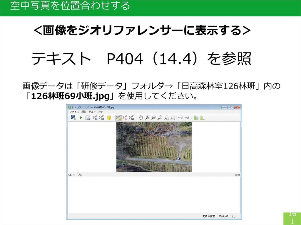 空中写真を位置合わせする 16 1 テキスト P404(14.4)を参照 画像データは「研修デ...