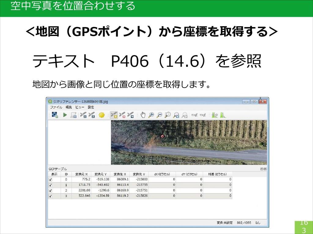 空中写真を位置合わせする 16 3 テキスト P406(14.6)を参照 地図から画像と同じ位...
