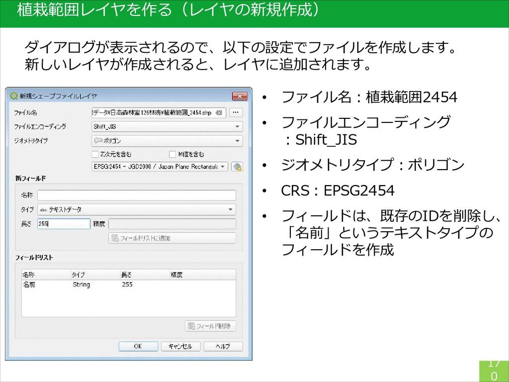 17 0 ダイアログが表示されるので、以下の設定でファイルを作成します。 新しいレイヤが作成さ...