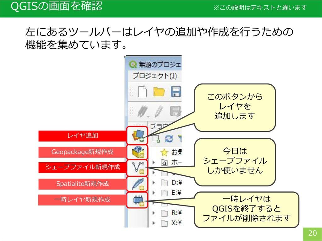 QGISの画面を確認 20 左にあるツールバーはレイヤの追加や作成を行うための 機能を集めてい...