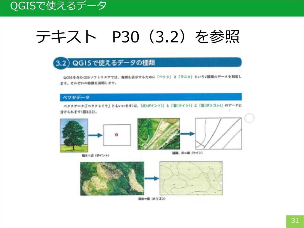QGISで使えるデータ 31 テキスト P30(3.2)を参照