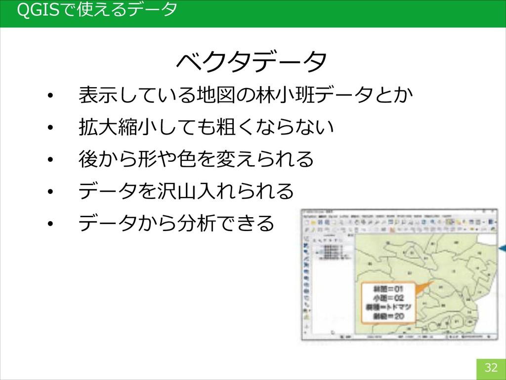 32 ベクタデータ QGISで使えるデータ • 表示している地図の林小班データとか • 拡大縮...