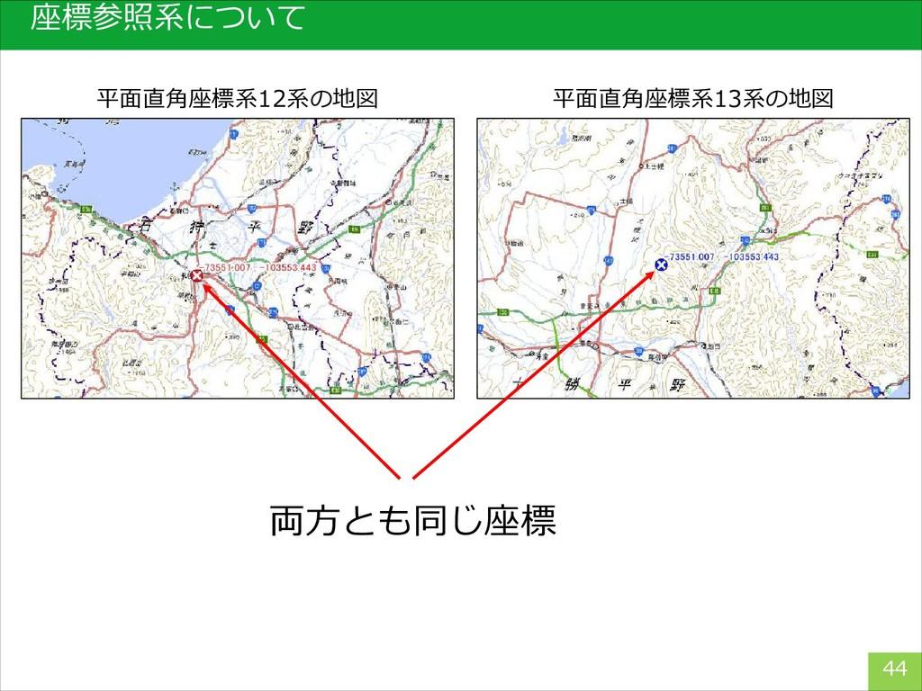 座標参照系について 44 平面直角座標系12系の地図 平面直角座標系13系の地図 両方とも同じ...