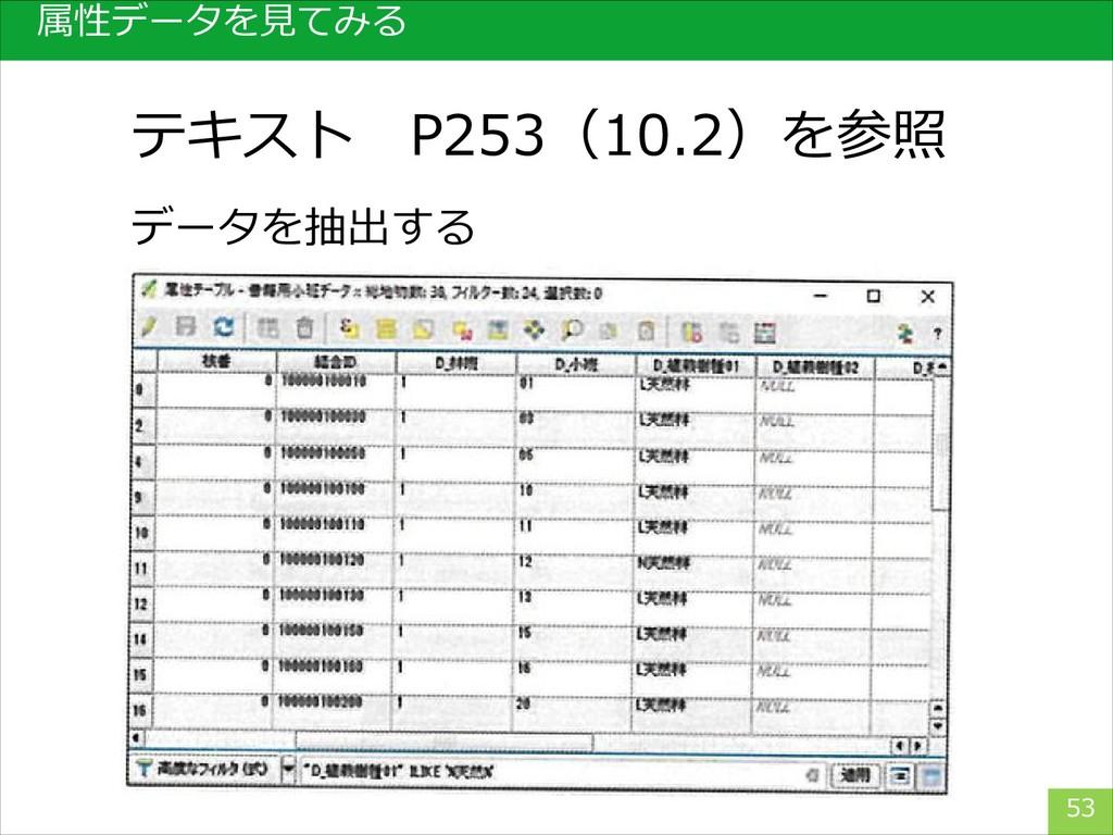 属性データを見てみる 53 データを抽出する テキスト P253(10.2)を参照
