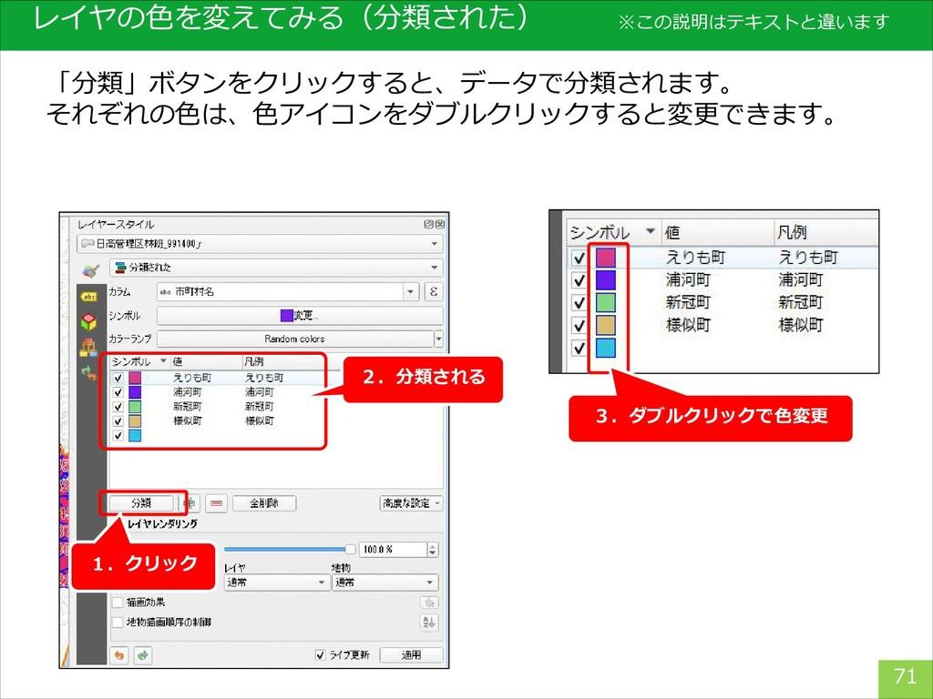 レイヤの色を変えてみる(分類された) 71 「分類」ボタンをクリックすると、データで分類されま...