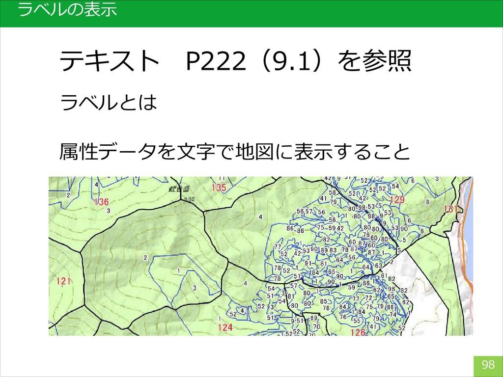 ラベルの表示 98 ラベルとは テキスト P222(9.1)を参照 属性データを文字で地図に表...
