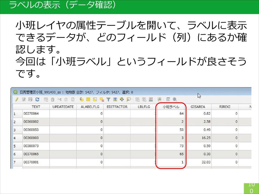 ラベルの表示(データ確認) 10 0 小班レイヤの属性テーブルを開いて、ラベルに表示 できるデ...