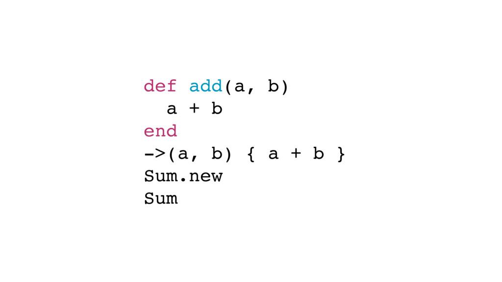def add(a, b) a + b end ->(a, b) { a + b } Sum....