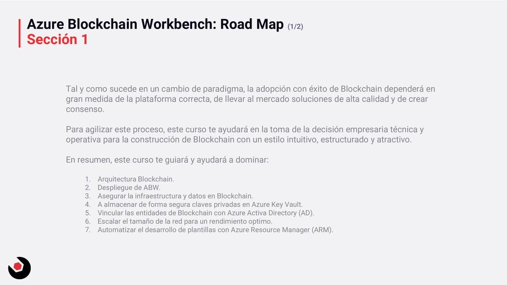 Azure Blockchain Workbench: Road Map (1/2) Secc...