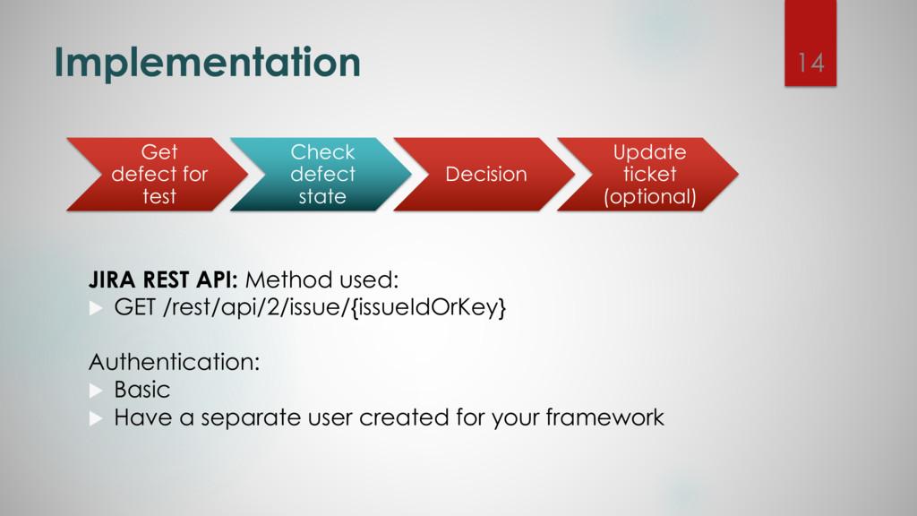 Implementation JIRA REST API: Method used: u GE...