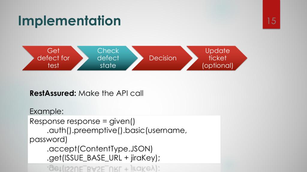 Implementation RestAssured: Make the API call E...