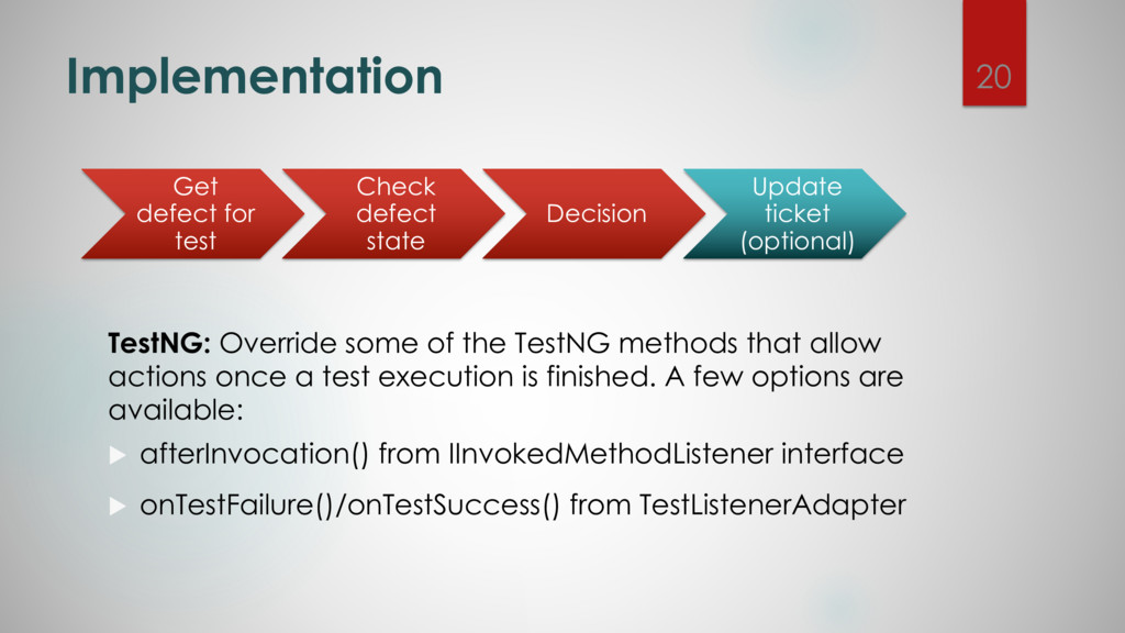 Implementation TestNG: Override some of the Tes...