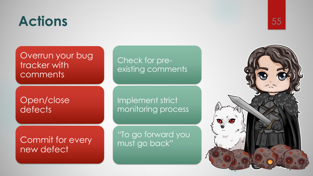 Actions 55 Overrun your bug tracker with commen...