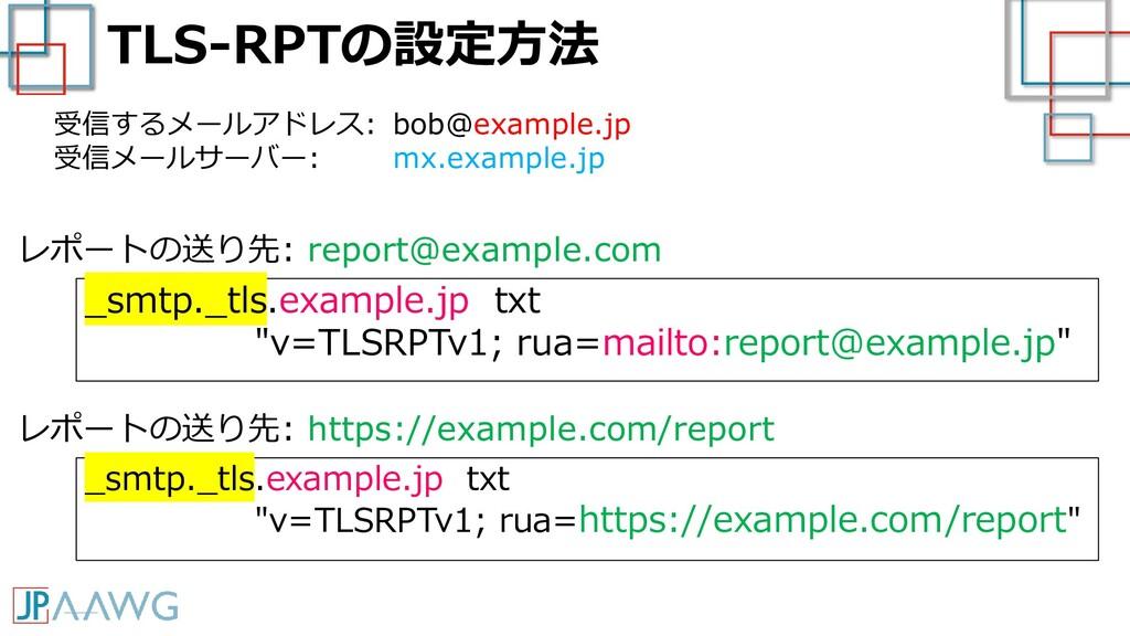 "TLS-RPTの設定方法 _smtp._tls.example.jp txt ""v=TLSRP..."