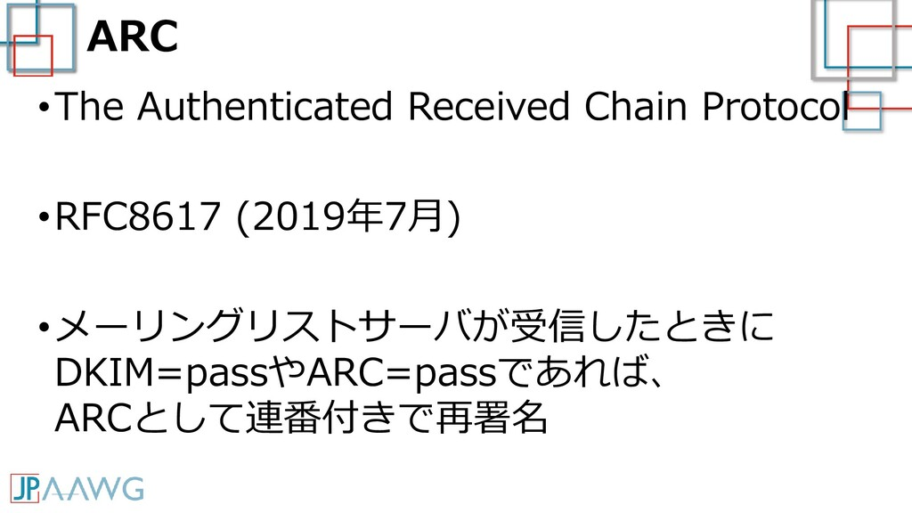 ARC •The Authenticated Received Chain Protocol ...