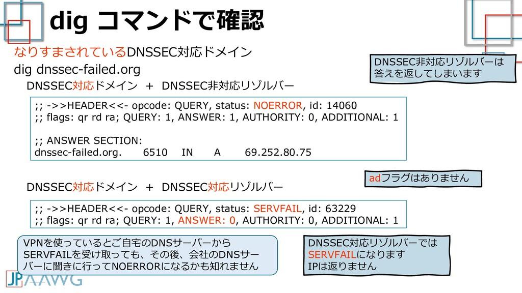 dig コマンドで確認 なりすまされているDNSSEC対応ドメイン dig dnssec-fa...