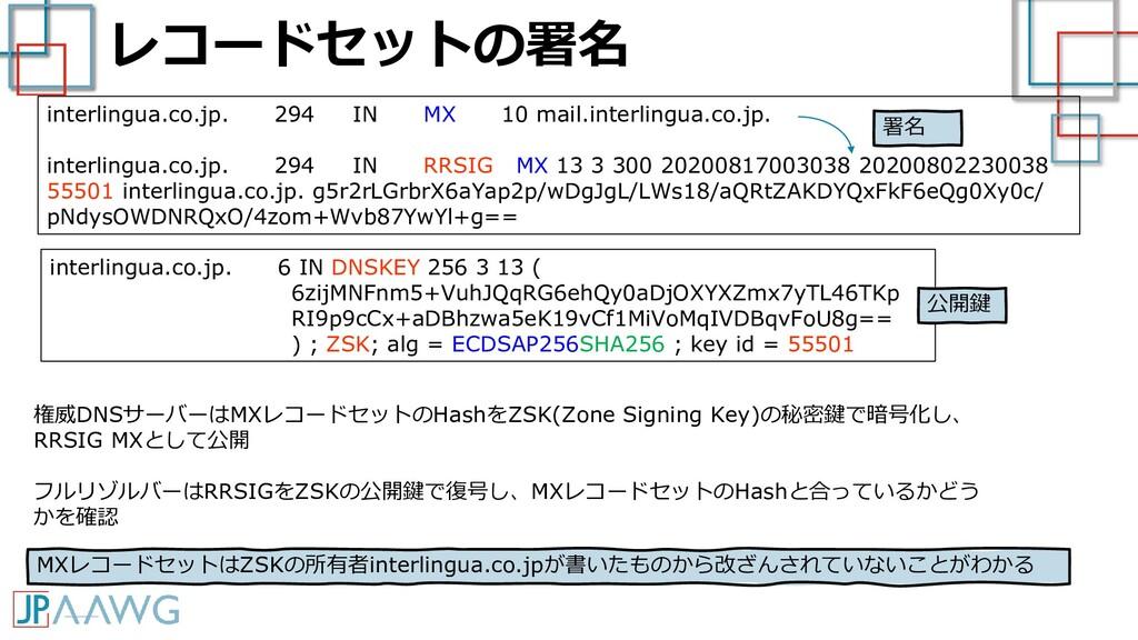 レコードセットの署名 interlingua.co.jp. 294 IN MX 10 mail...