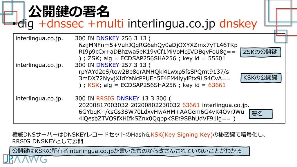 公開鍵の署名 •dig +dnssec +multi interlingua.co.jp dn...