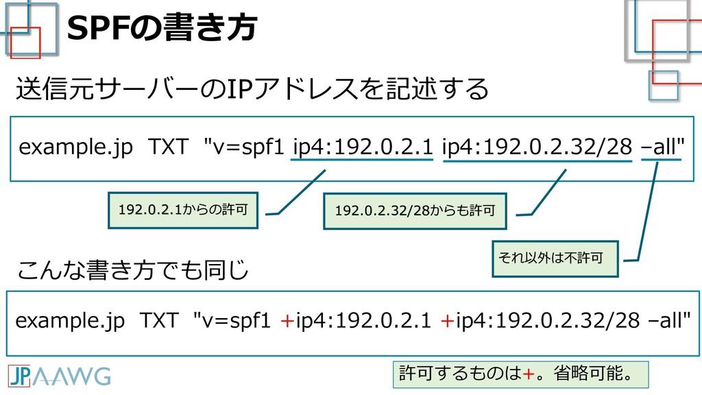 "SPFの書き方 example.jp TXT ""v=spf1 ip4:192.0.2.1 ip..."