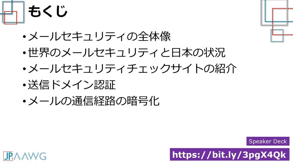 もくじ • メールセキュリティの全体像 • 世界のメールセキュリティと日本の状況 • メールセ...