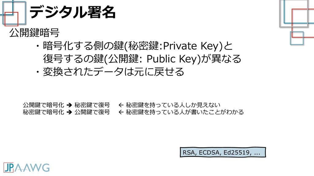 デジタル署名 公開鍵暗号 ・暗号化する側の鍵(秘密鍵:Private Key)と 復号するの鍵...