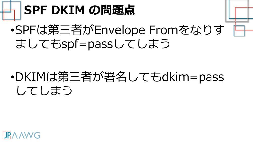 SPF DKIM の問題点 •SPFは第三者がEnvelope Fromをなりす ましてもsp...