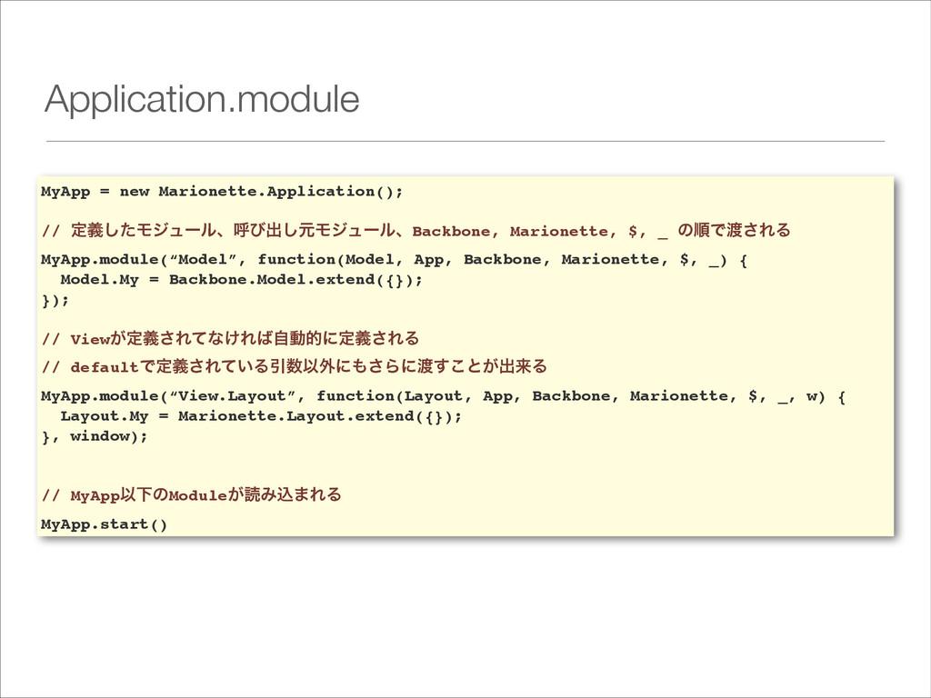 Application.module MyApp = new Marionette.Appli...