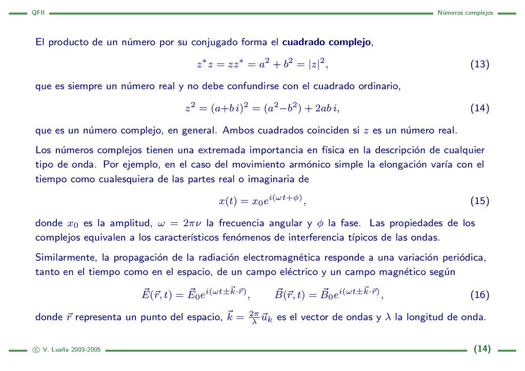 QFII N´ umeros complejos El producto de un n´ u...