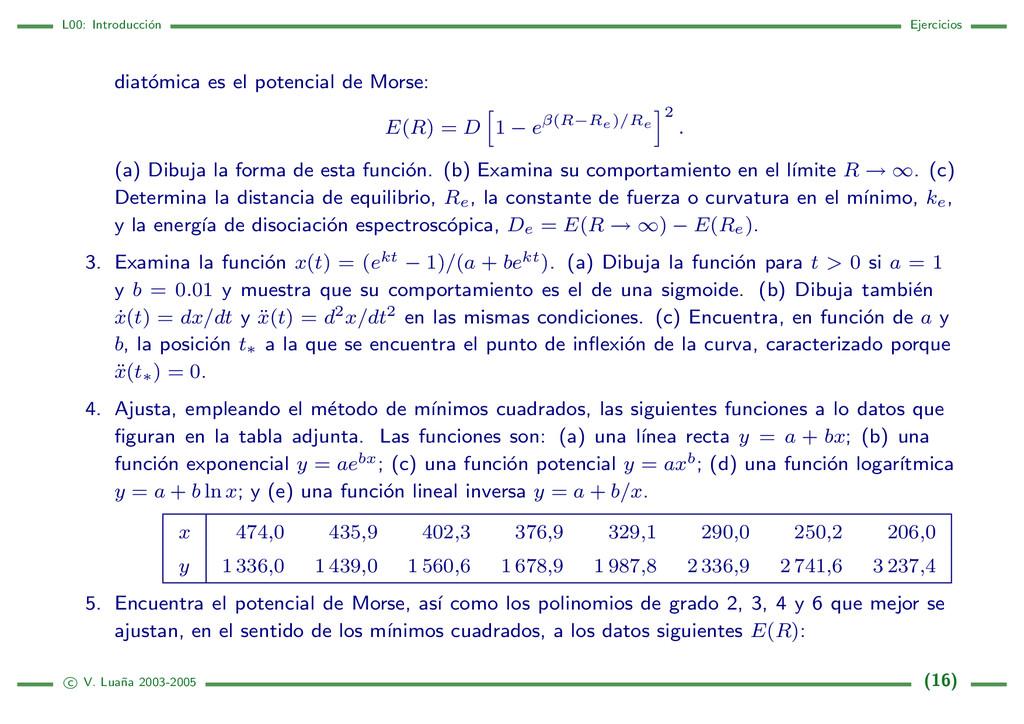 L00: Introducci´ on Ejercicios diat´ omica es e...