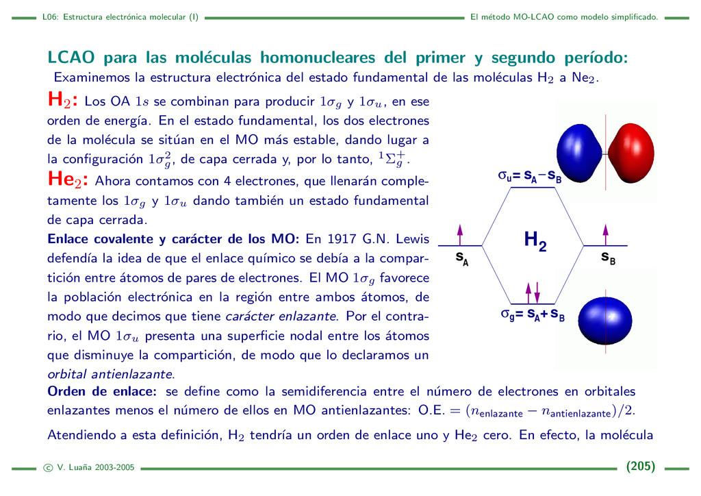 L06: Estructura electr´ onica molecular (I) El ...