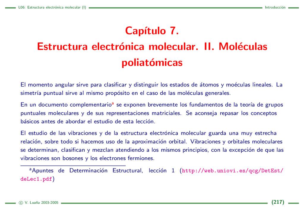 L06: Estructura electr´ onica molecular (I) Int...
