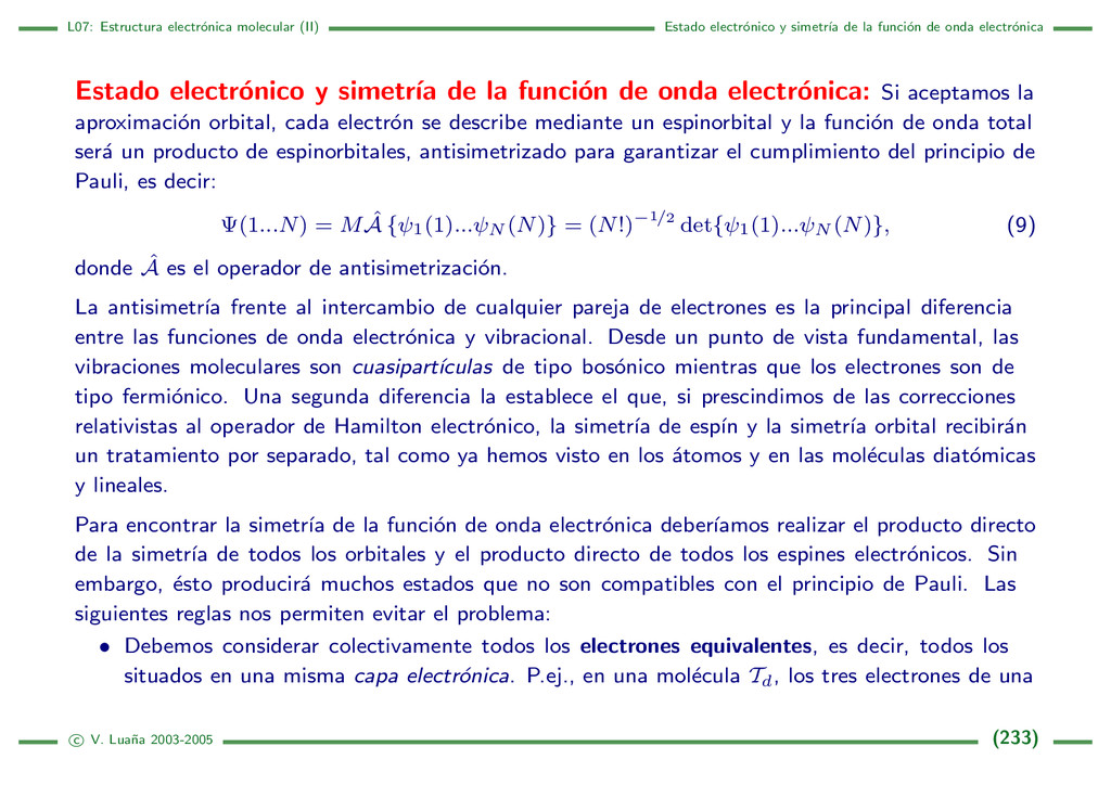 L07: Estructura electr´ onica molecular (II) Es...