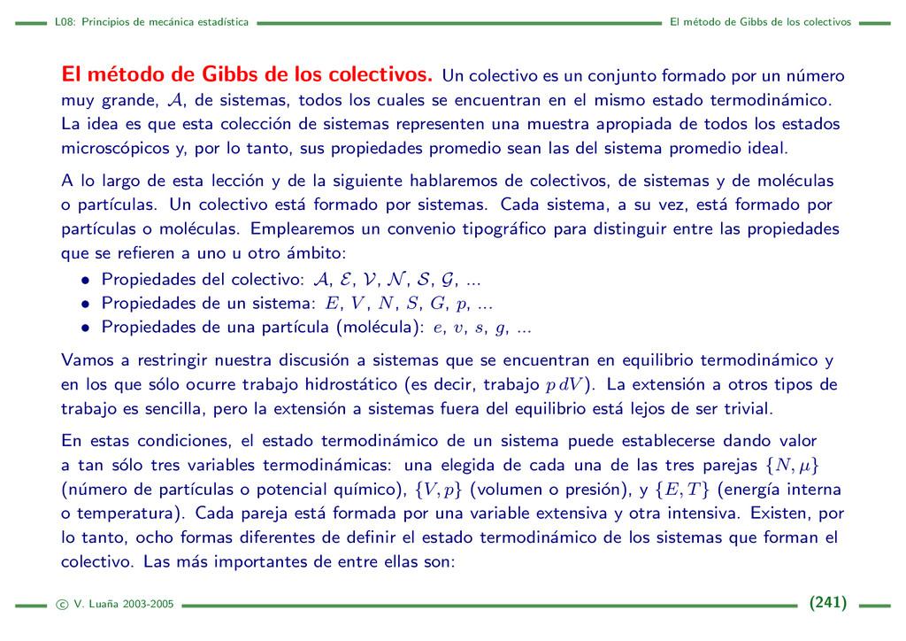 L08: Principios de mec´ anica estad´ ıstica El ...