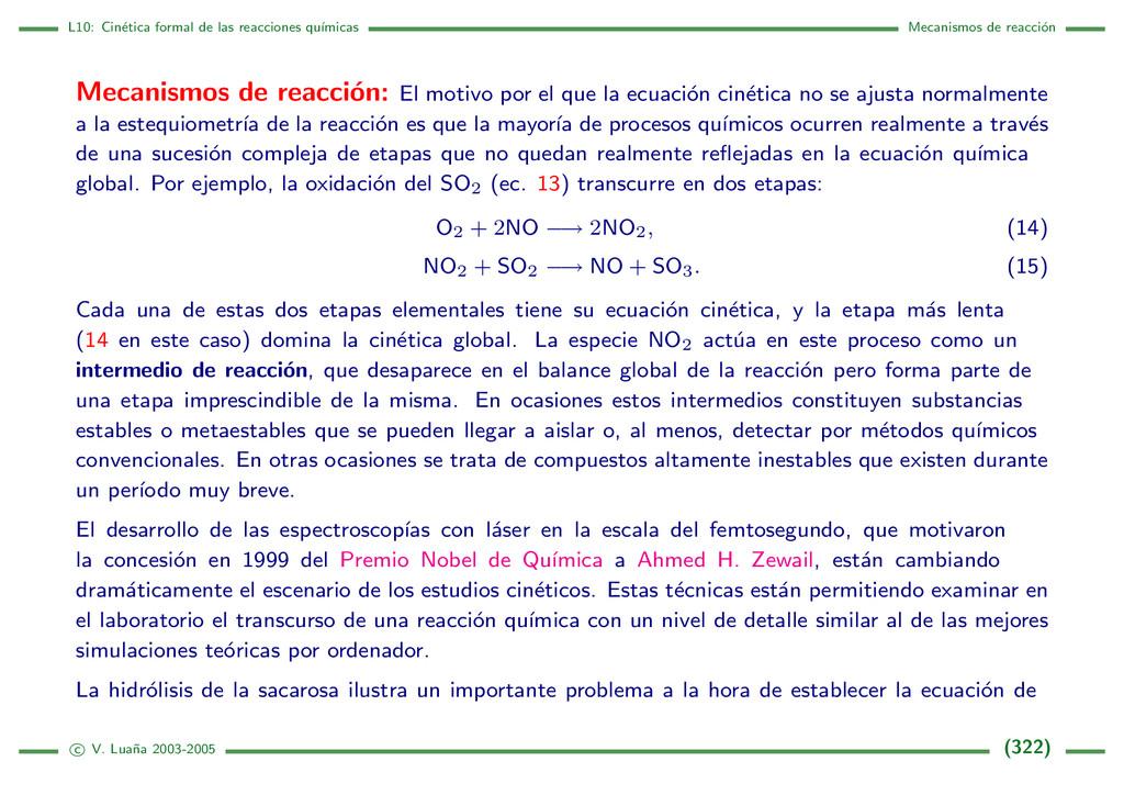 L10: Cin´ etica formal de las reacciones qu´ ım...