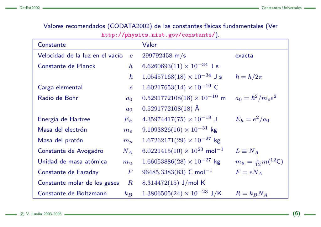 DetEst2002 Constantes Universales Valores recom...