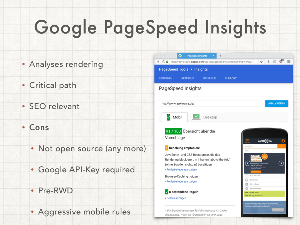 Google PageSpeed Insights • Analyses rendering ...