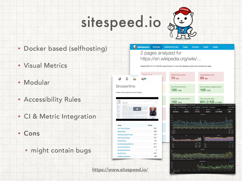 sitespeed.io • Docker based (selfhosting) • Vis...