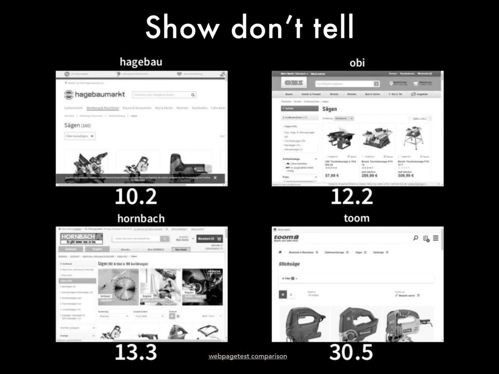 Show don't tell webpagetest comparison