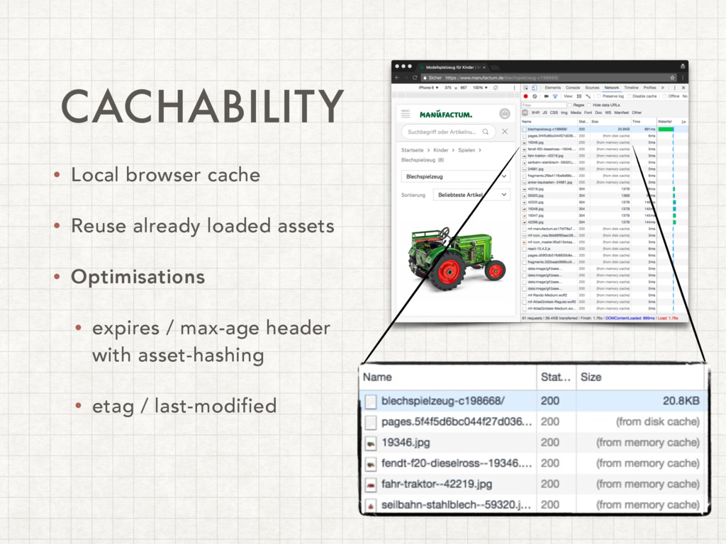 CACHABILITY • Local browser cache • Reuse alrea...