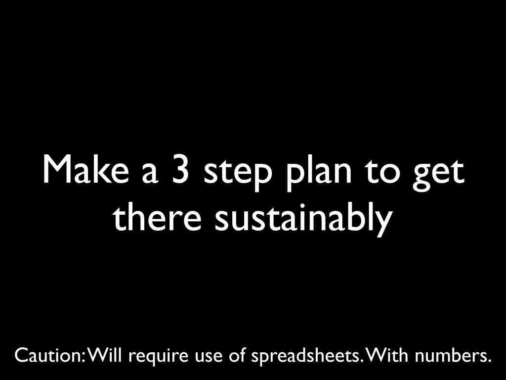 Make a 3 step plan to get there sustainably Cau...